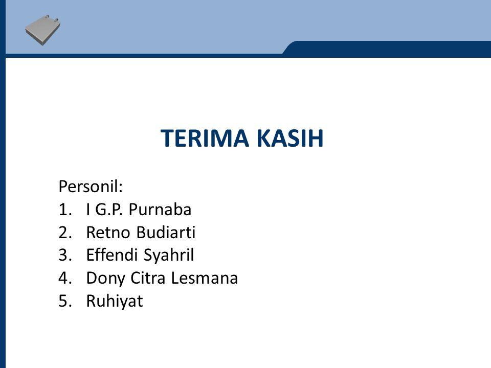 Terima kasih Personil: I G.P. Purnaba Retno Budiarti Effendi Syahril