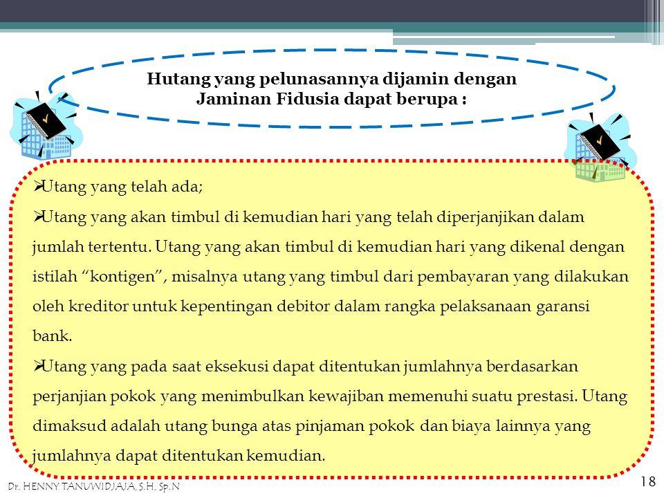 Hutang yang pelunasannya dijamin dengan Jaminan Fidusia dapat berupa :