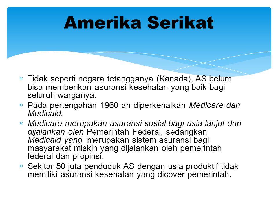 Amerika Serikat Tidak seperti negara tetangganya (Kanada), AS belum bisa memberikan asuransi kesehatan yang baik bagi seluruh warganya.