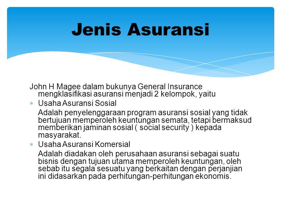 Jenis Asuransi John H Magee dalam bukunya General Insurance mengklasifikasi asuransi menjadi 2 kelompok, yaitu.