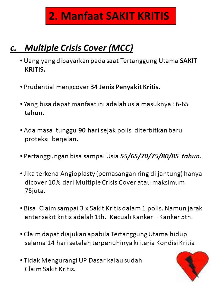 2. Manfaat SAKIT KRITIS c. Multiple Crisis Cover (MCC)
