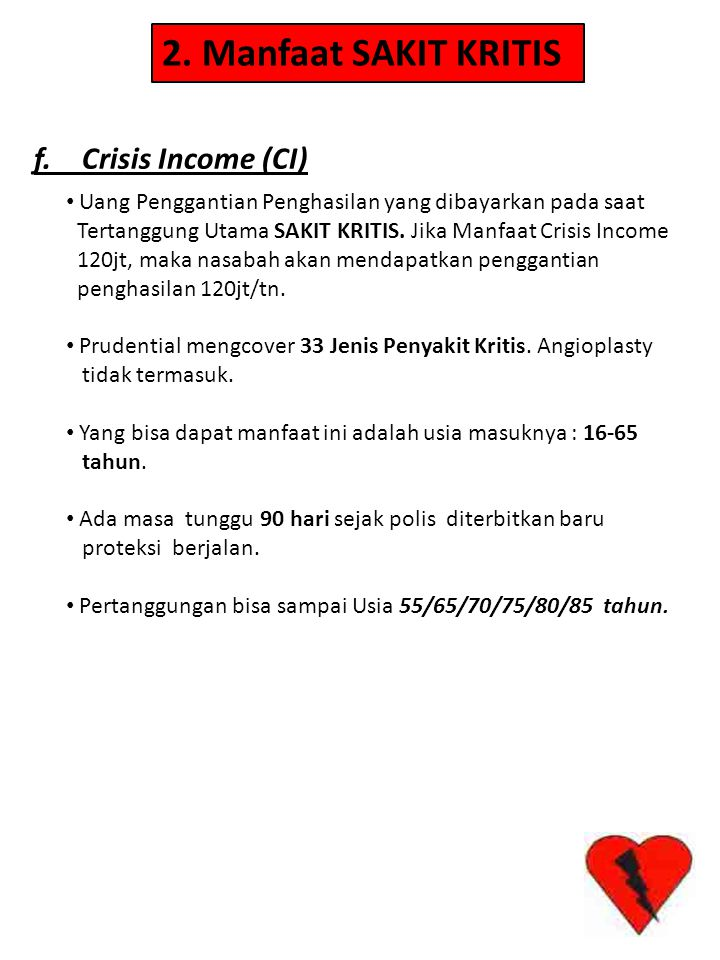 2. Manfaat SAKIT KRITIS f. Crisis Income (CI)