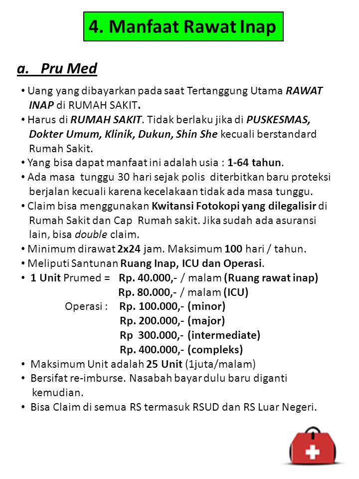 4. Manfaat Rawat Inap a. Pru Med