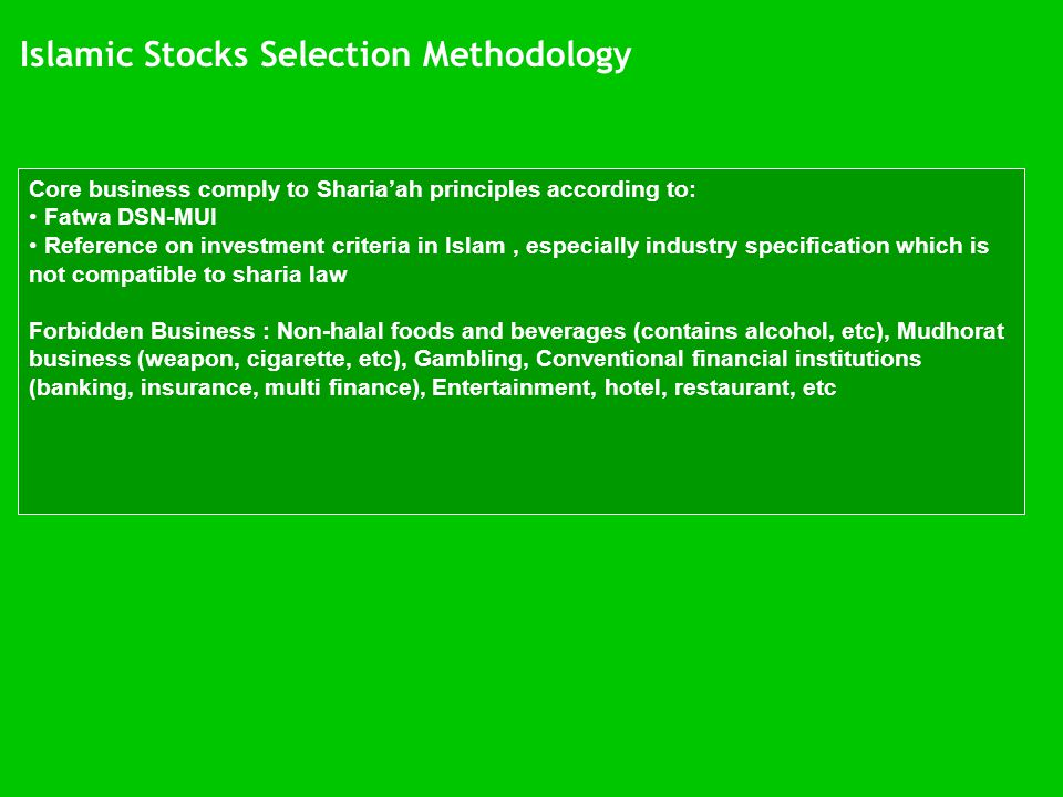 Islamic Stocks Selection Methodology