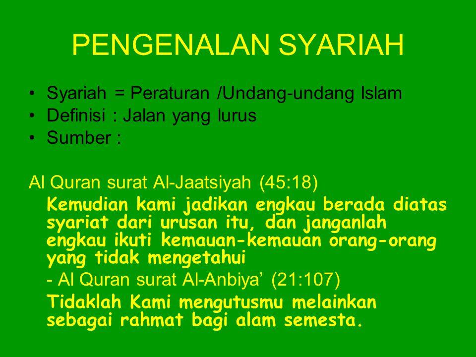 PENGENALAN SYARIAH Syariah = Peraturan /Undang-undang Islam