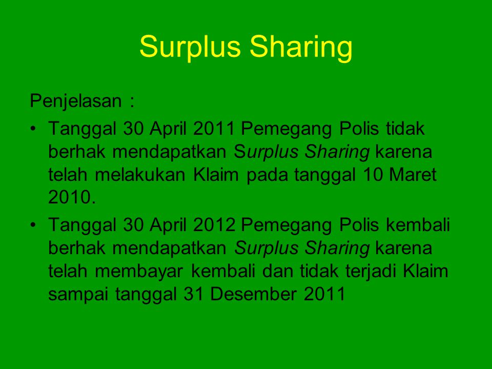 Surplus Sharing Penjelasan :