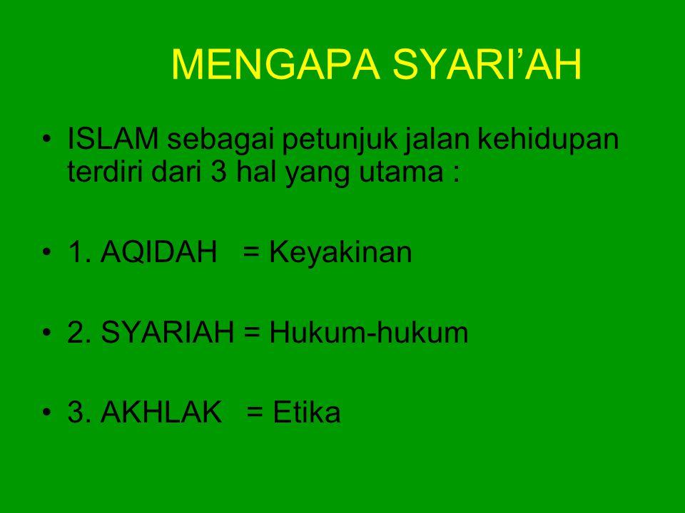 MENGAPA SYARI'AH ISLAM sebagai petunjuk jalan kehidupan terdiri dari 3 hal yang utama : 1. AQIDAH = Keyakinan.