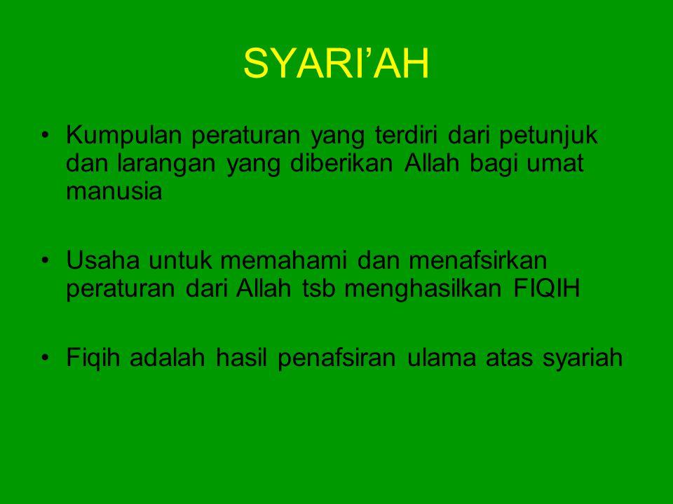 SYARI'AH Kumpulan peraturan yang terdiri dari petunjuk dan larangan yang diberikan Allah bagi umat manusia.