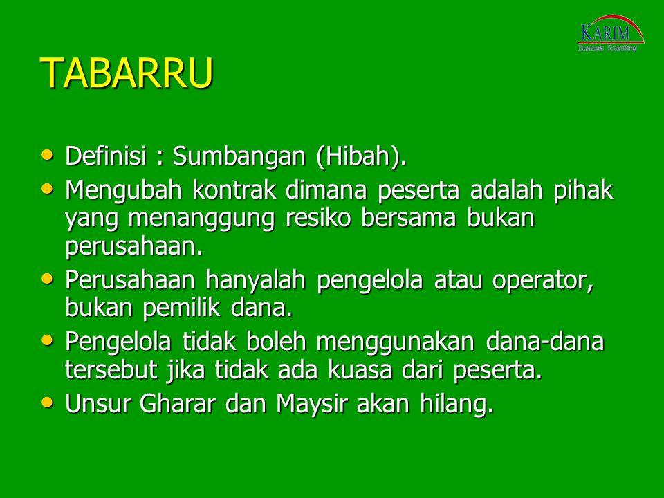 TABARRU Definisi : Sumbangan (Hibah).