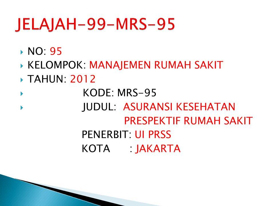JELAJAH-99-MRS-95 NO: 95 KELOMPOK: MANAJEMEN RUMAH SAKIT TAHUN: 2012