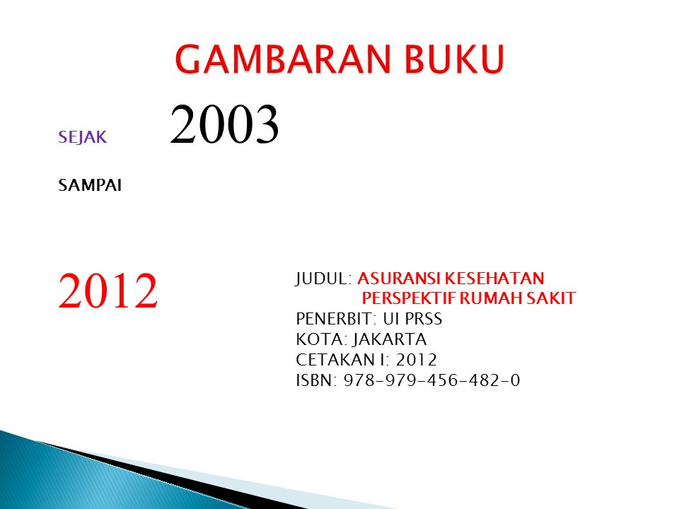 2012 GAMBARAN BUKU SEJAK 2003 SAMPAI JUDUL: ASURANSI KESEHATAN