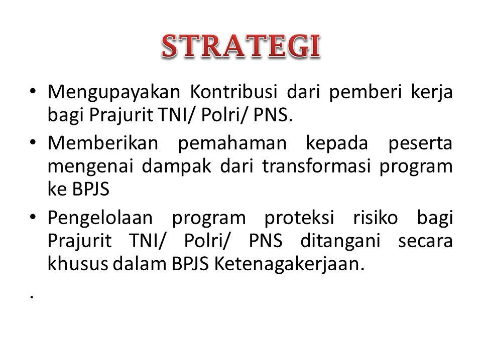 STRATEGI Mengupayakan Kontribusi dari pemberi kerja bagi Prajurit TNI/ Polri/ PNS.