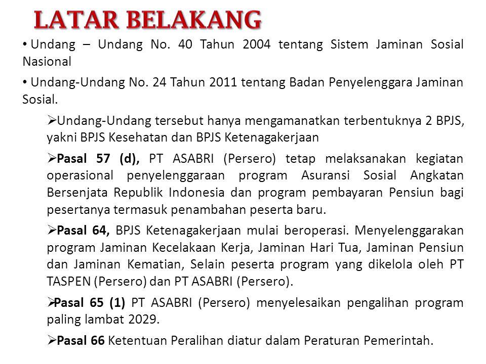 Latar belakang Undang – Undang No. 40 Tahun 2004 tentang Sistem Jaminan Sosial Nasional.