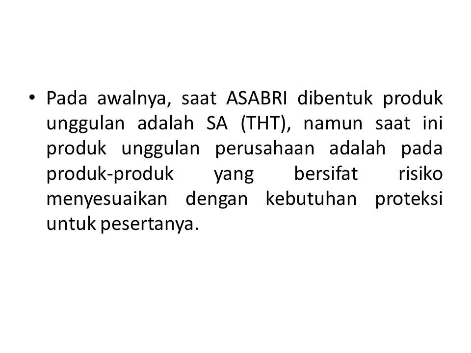 Pada awalnya, saat ASABRI dibentuk produk unggulan adalah SA (THT), namun saat ini produk unggulan perusahaan adalah pada produk-produk yang bersifat risiko menyesuaikan dengan kebutuhan proteksi untuk pesertanya.