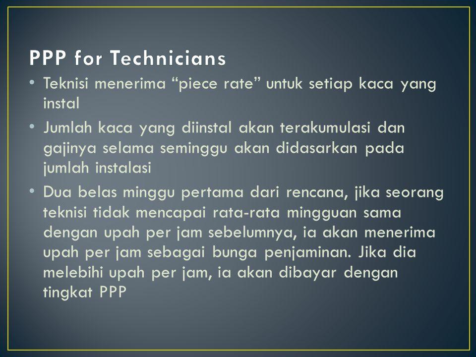 PPP for Technicians Teknisi menerima piece rate untuk setiap kaca yang instal.
