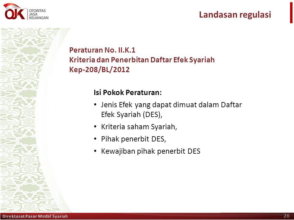 Landasan regulasi Peraturan No. II.K.1
