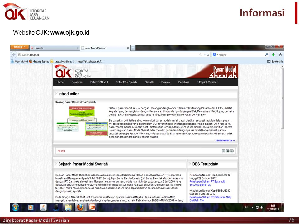 Informasi Website OJK: www.ojk.go.id Direktorat Pasar Modal Syariah