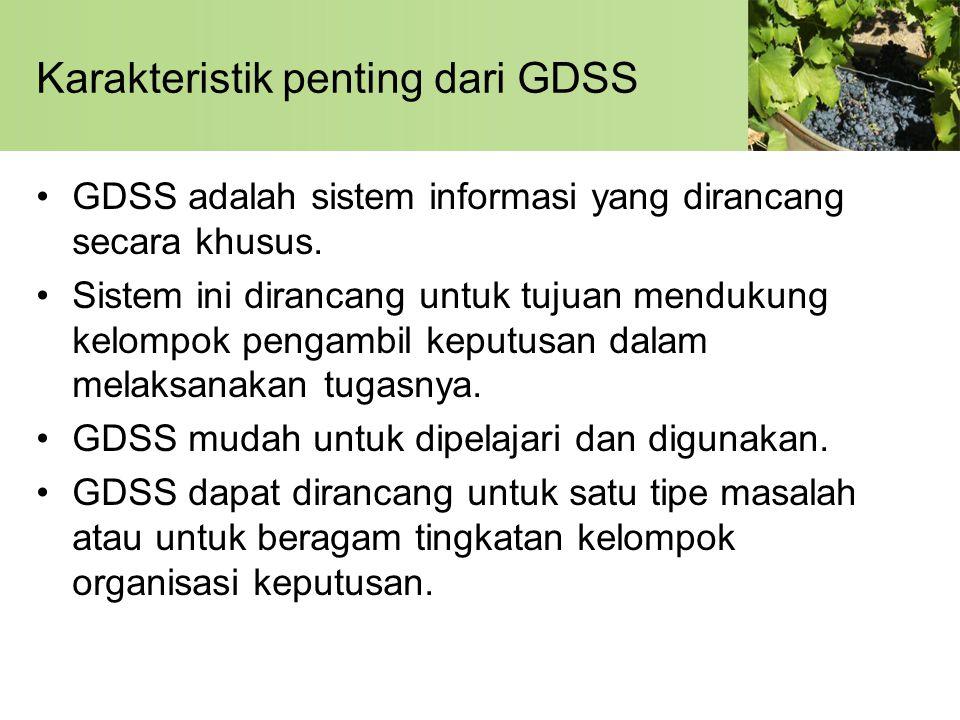 Karakteristik penting dari GDSS