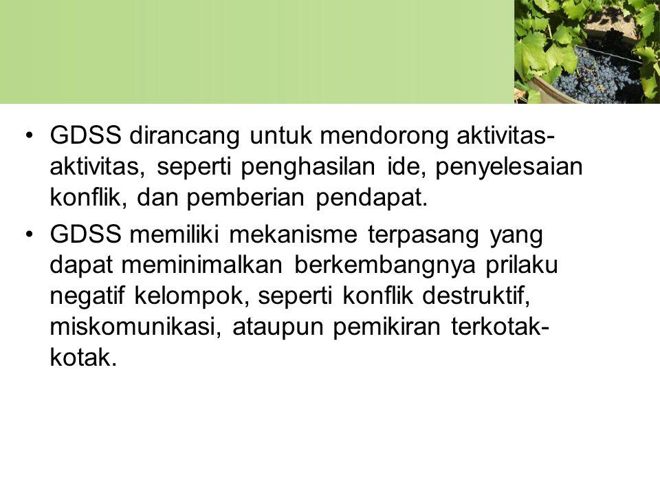 GDSS dirancang untuk mendorong aktivitas-aktivitas, seperti penghasilan ide, penyelesaian konflik, dan pemberian pendapat.
