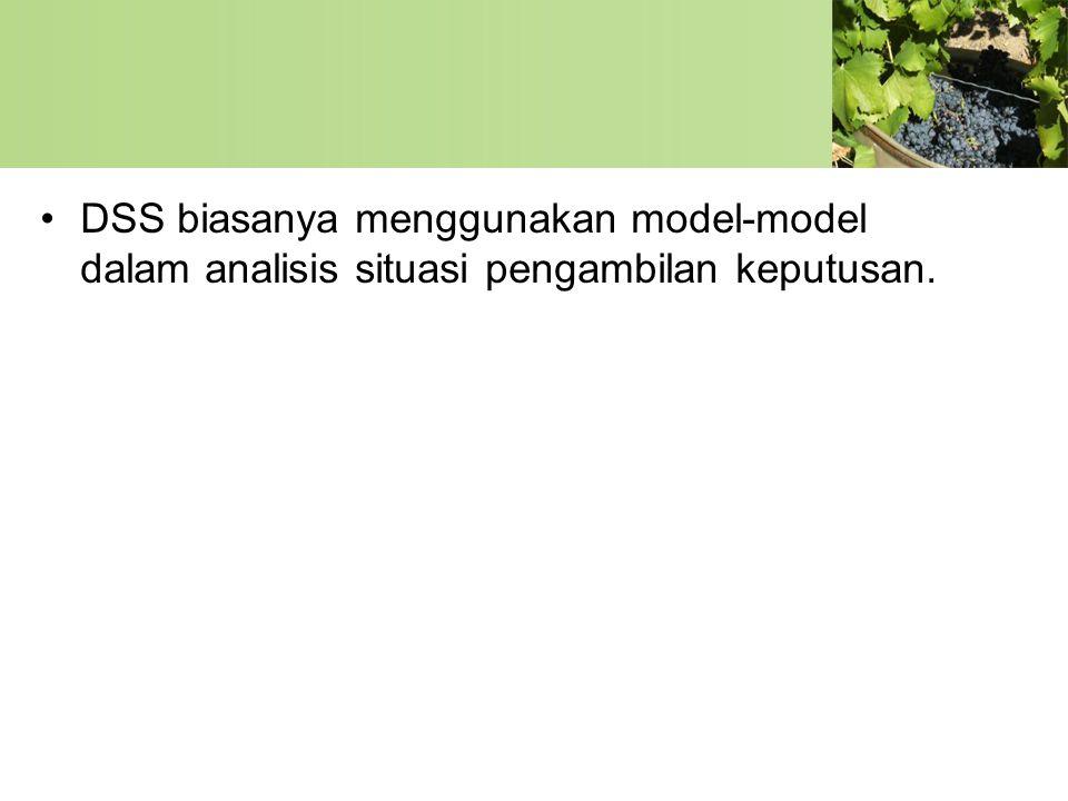 DSS biasanya menggunakan model-model dalam analisis situasi pengambilan keputusan.