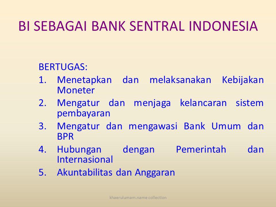 BI SEBAGAI BANK SENTRAL INDONESIA