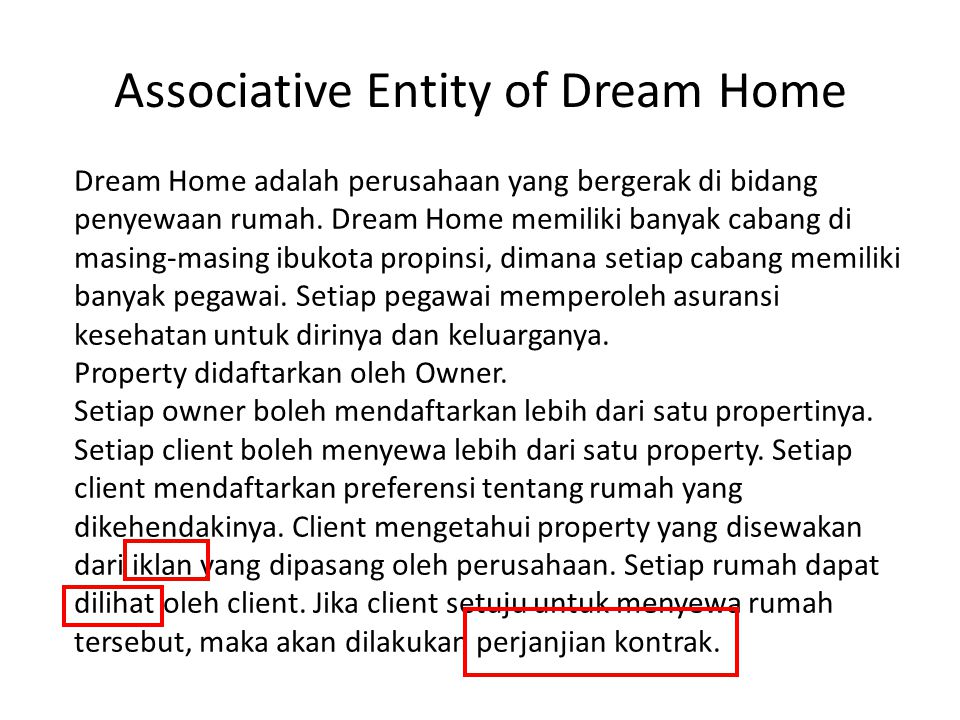 Associative Entity of Dream Home
