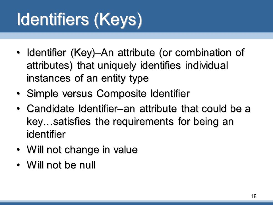 Identifiers (Keys) Identifier (Key)–An attribute (or combination of attributes) that uniquely identifies individual instances of an entity type.