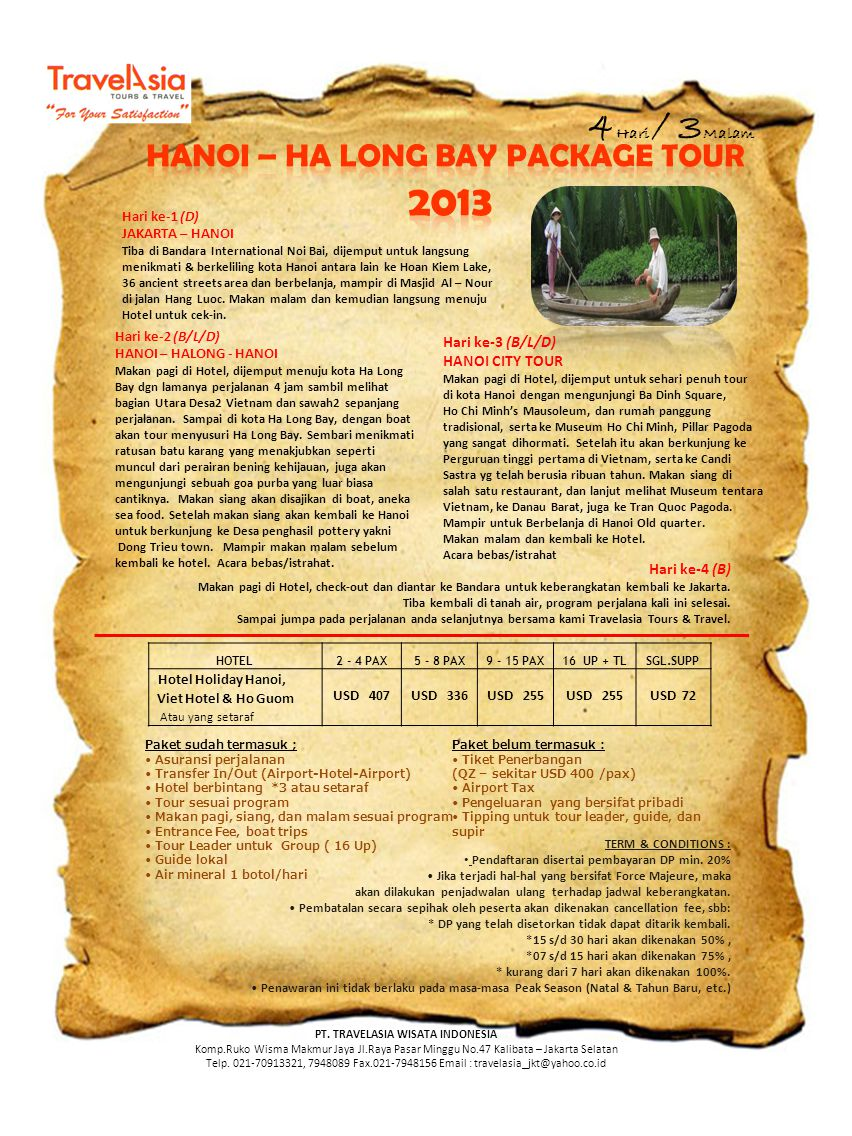 HANOI – HA LONG BAY PACKAGE TOUR PT. TRAVELASIA WISATA INDONESIA