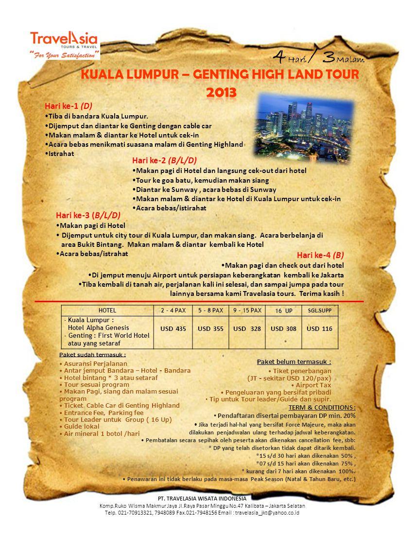 Kuala lumpur – genting high land TOUR PT. TRAVELASIA WISATA INDONESIA