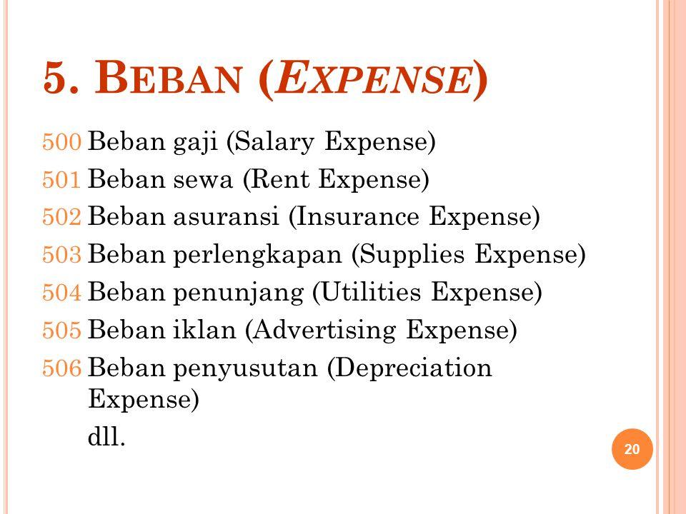 5. Beban (Expense) Beban gaji (Salary Expense)