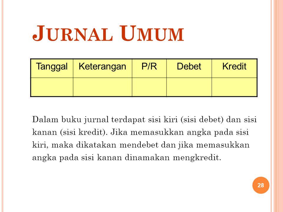 Jurnal Umum Tanggal Keterangan P/R Debet Kredit