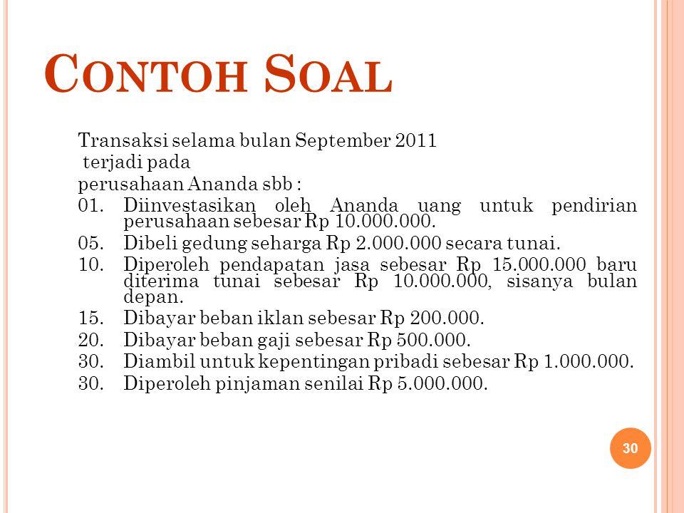 Contoh Soal Transaksi selama bulan September 2011 terjadi pada