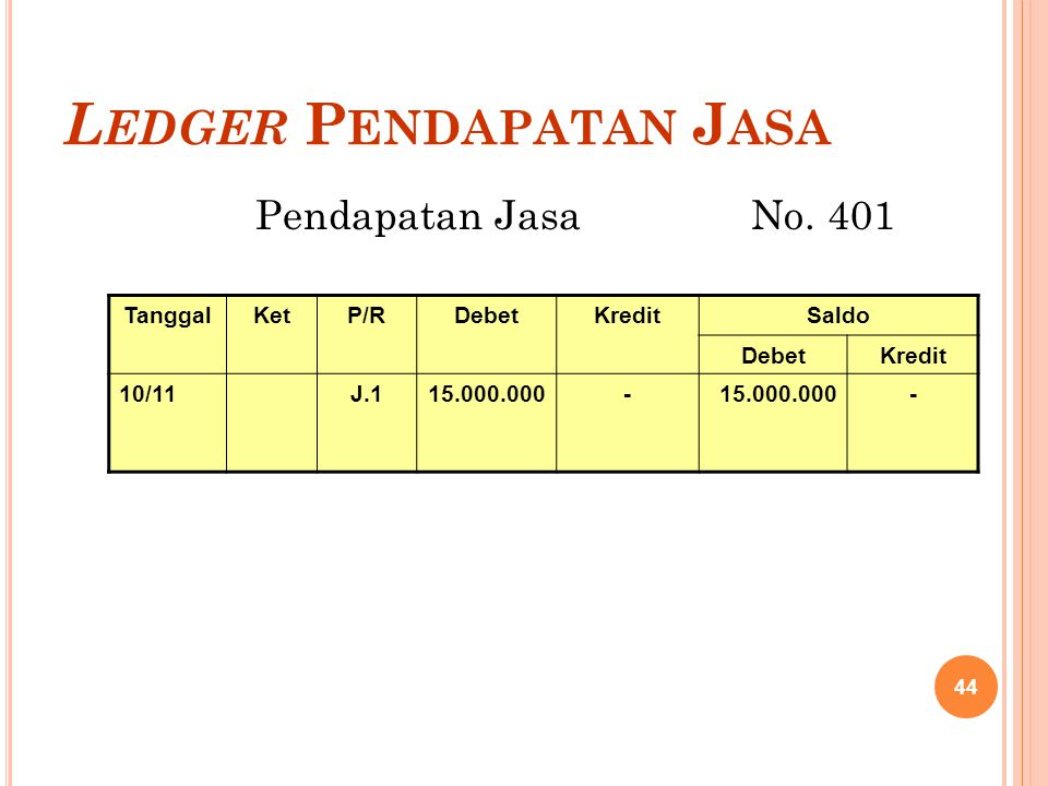 Ledger Pendapatan Jasa
