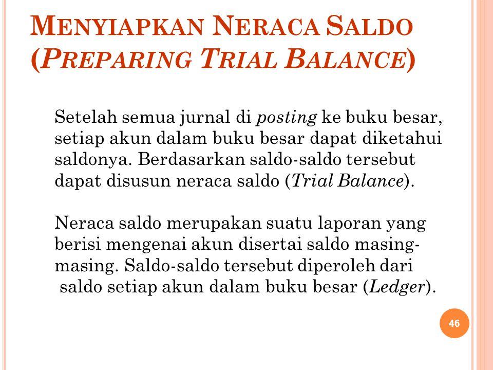Menyiapkan Neraca Saldo (Preparing Trial Balance)