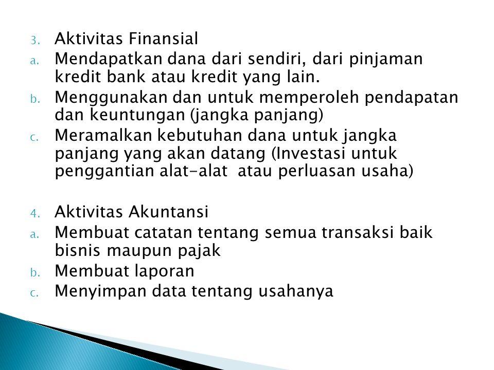 Aktivitas Finansial Mendapatkan dana dari sendiri, dari pinjaman kredit bank atau kredit yang lain.