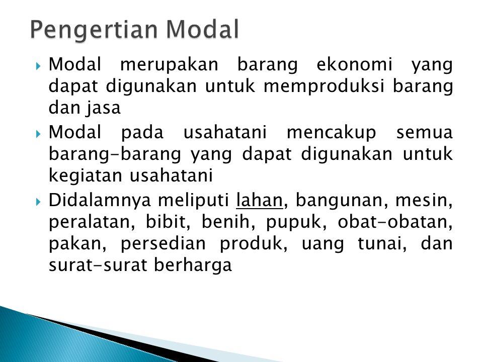 Pengertian Modal Modal merupakan barang ekonomi yang dapat digunakan untuk memproduksi barang dan jasa.