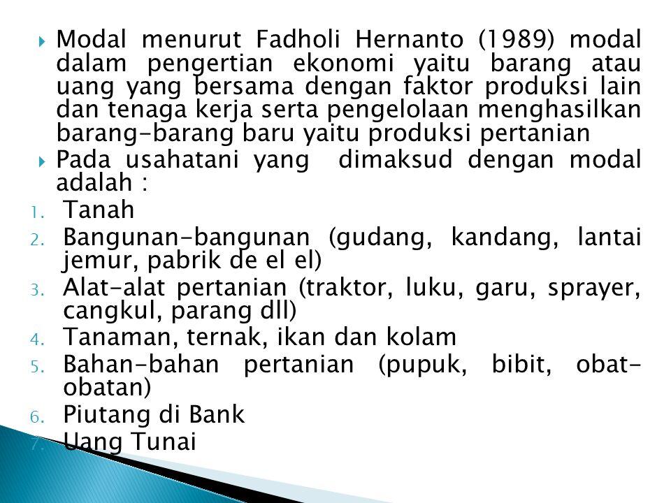 Modal menurut Fadholi Hernanto (1989) modal dalam pengertian ekonomi yaitu barang atau uang yang bersama dengan faktor produksi lain dan tenaga kerja serta pengelolaan menghasilkan barang-barang baru yaitu produksi pertanian
