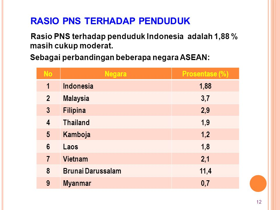 Rasio PNS terhadap penduduk