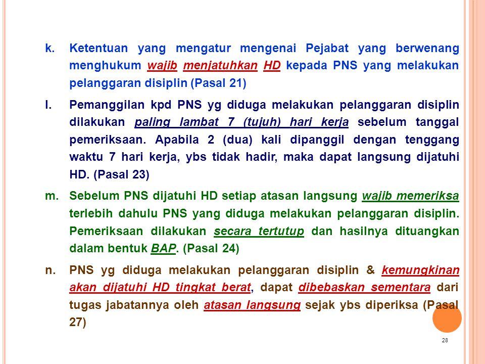 Ketentuan yang mengatur mengenai Pejabat yang berwenang menghukum wajib menjatuhkan HD kepada PNS yang melakukan pelanggaran disiplin (Pasal 21)