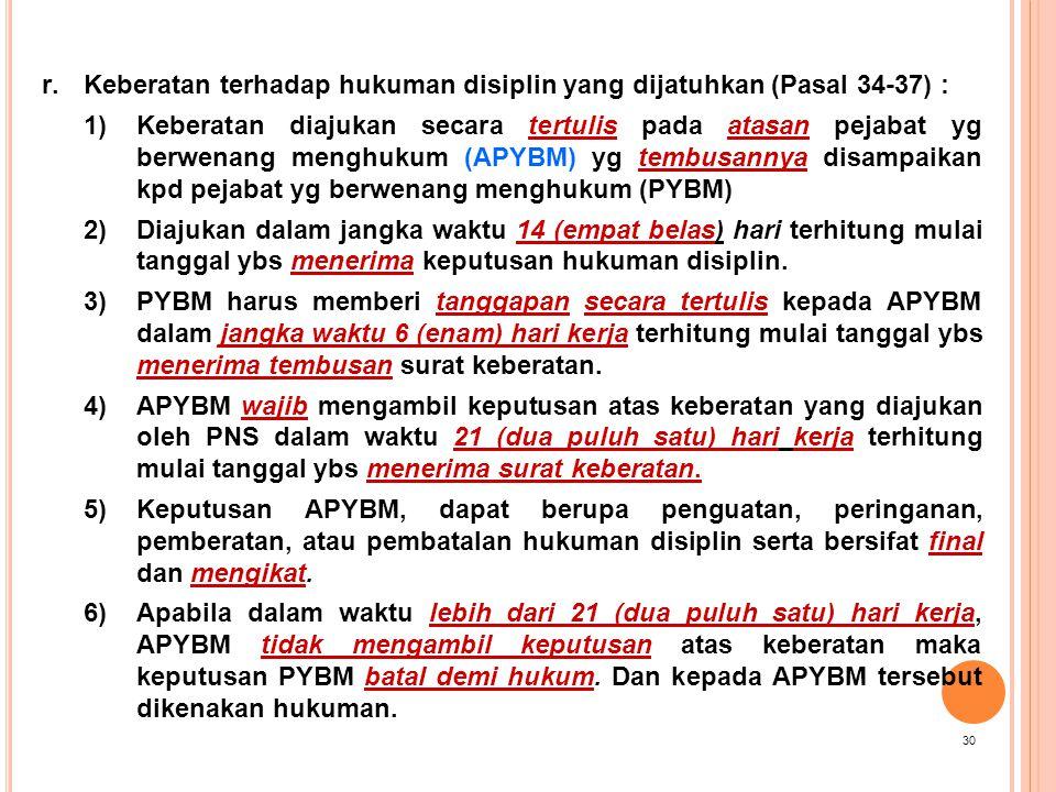 Keberatan terhadap hukuman disiplin yang dijatuhkan (Pasal 34-37) :