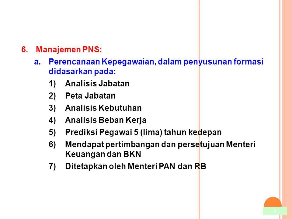 Manajemen PNS: Perencanaan Kepegawaian, dalam penyusunan formasi didasarkan pada: Analisis Jabatan.