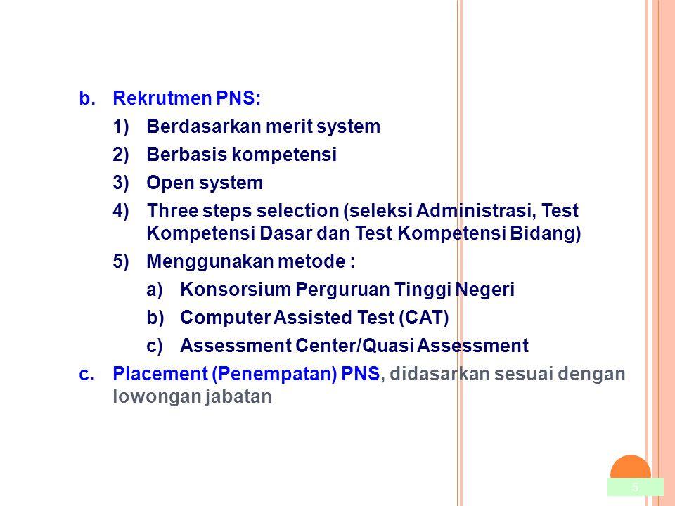 Rekrutmen PNS: Berdasarkan merit system. Berbasis kompetensi. Open system.