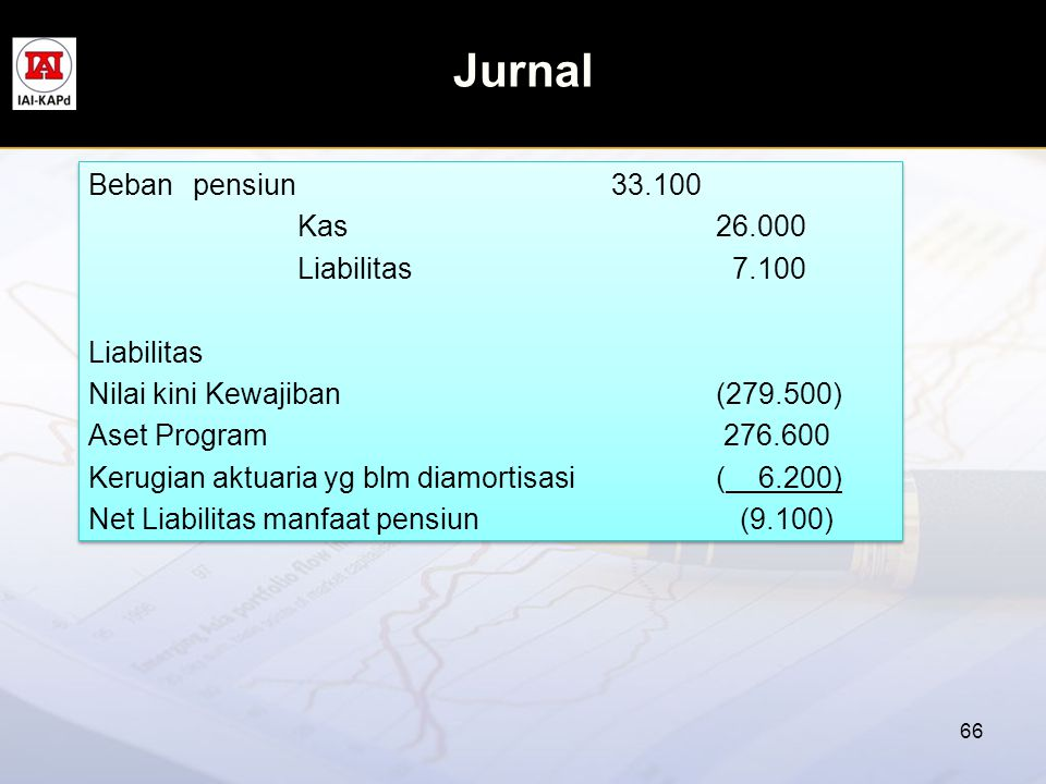 Jurnal Beban pensiun 33.100 Kas 26.000 Liabilitas 7.100 Liabilitas