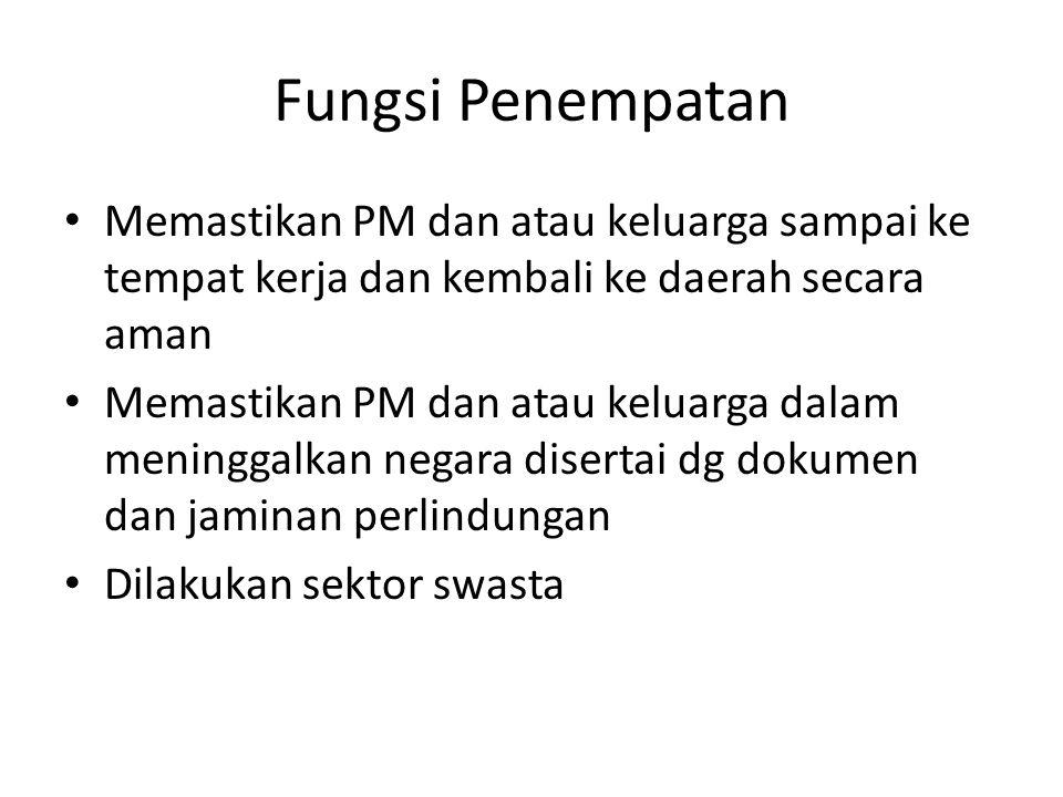 Fungsi Penempatan Memastikan PM dan atau keluarga sampai ke tempat kerja dan kembali ke daerah secara aman.