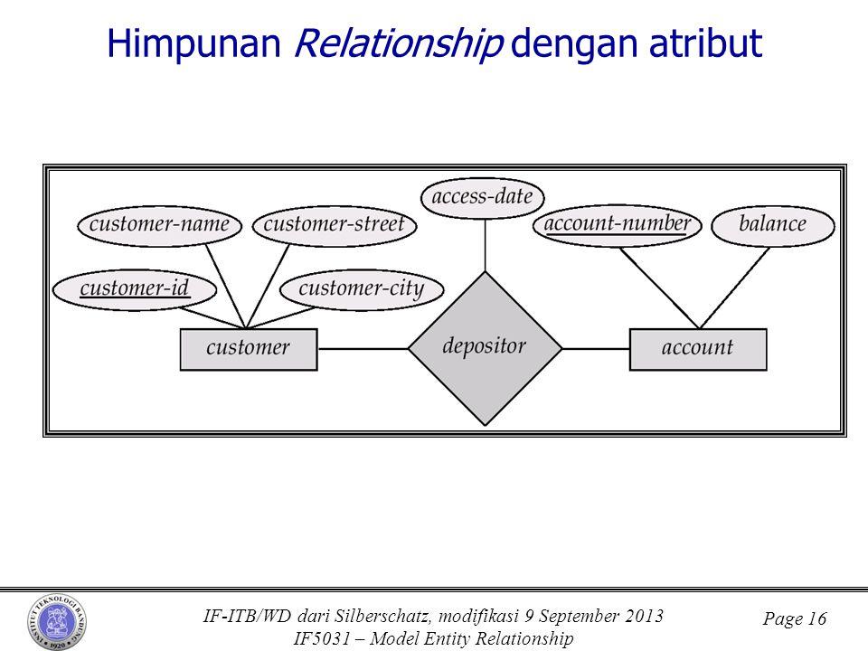 Himpunan Relationship dengan atribut