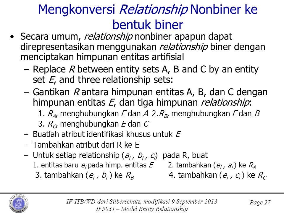 Mengkonversi Relationship Nonbiner ke bentuk biner