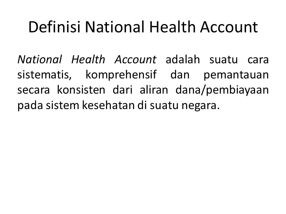 Definisi National Health Account