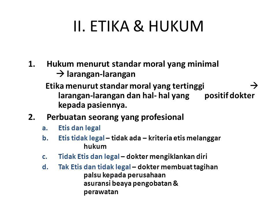 II. ETIKA & HUKUM Hukum menurut standar moral yang minimal  larangan-larangan.