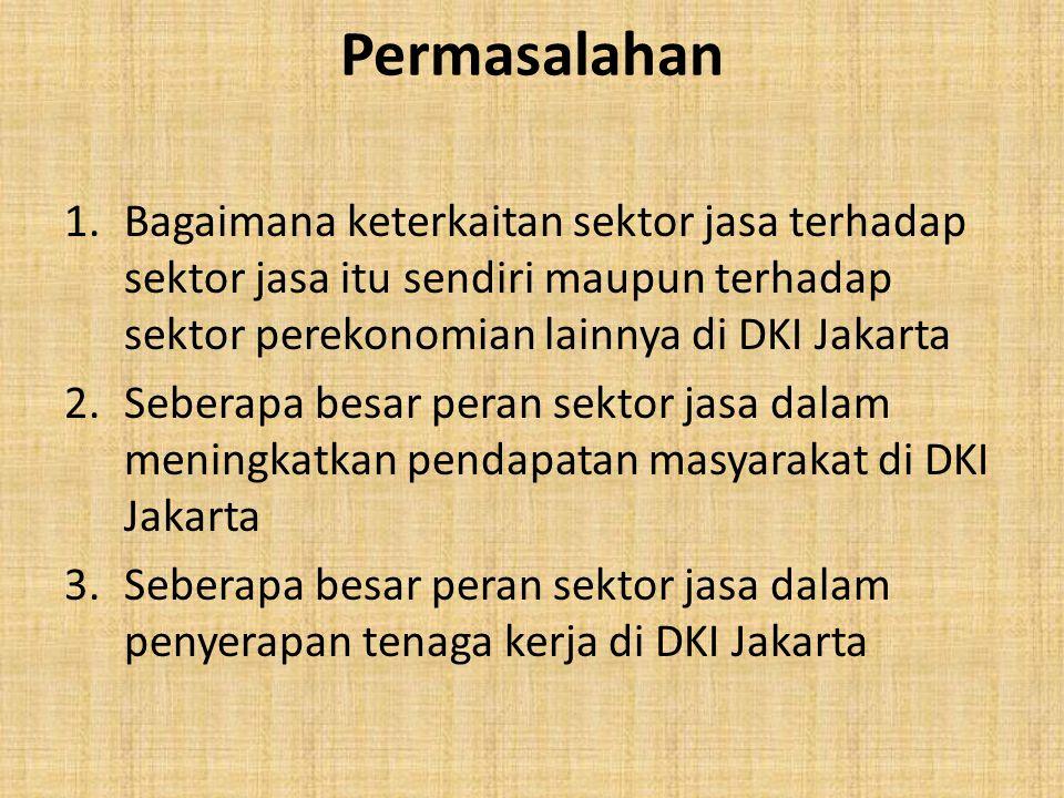 Permasalahan Bagaimana keterkaitan sektor jasa terhadap sektor jasa itu sendiri maupun terhadap sektor perekonomian lainnya di DKI Jakarta.
