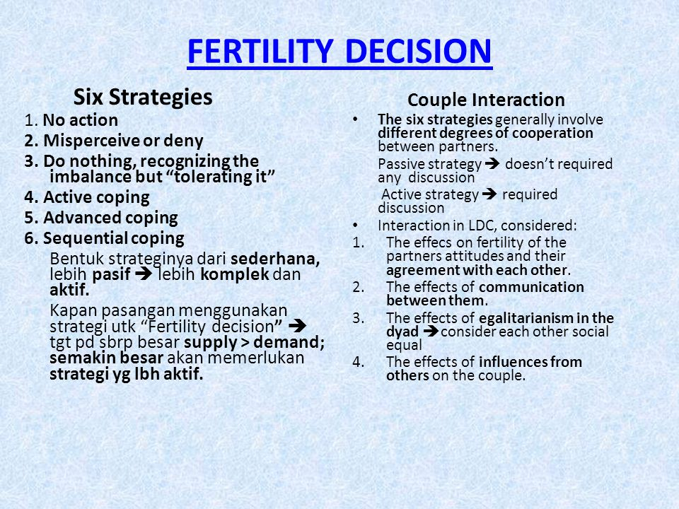 FERTILITY DECISION Six Strategies Couple Interaction 1. No action